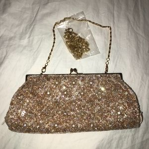 New Carlo Fellini Gold Beaded Evening Shoulder Bag